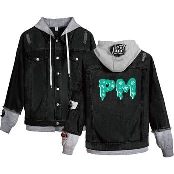 Fashionable Denim Jacket Jacket Men's/women's Hooded Denim Streetwear Casual Top Black Men Payton Moormeier Denim Jacket Letter