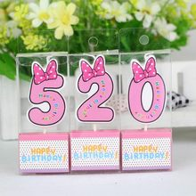 Birthday Candle Mickey Minnie Mouse Candle 0 1 2 3 4 5 6 7 8 9 Anniversary Cake Numbers Age Candle Party Supplies Decoration(China)