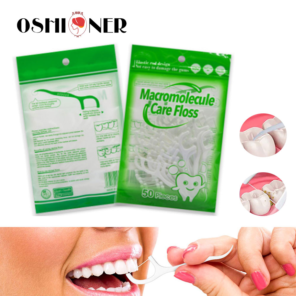 50pcs/lot Dental Floss Oral Care Teeth Stick Interdental Brushes Tooth Clean Toothpick Tool ABS Dental Flosser Hygiene Sticks(China)