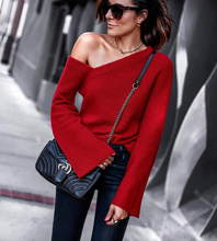 Fashion Autumn Top Pullover Women's Jumper Strapless Shoulder Elegant Solid Female Knitted Sweaters Winter Clothes Women asymmetric shoulder solid pullover