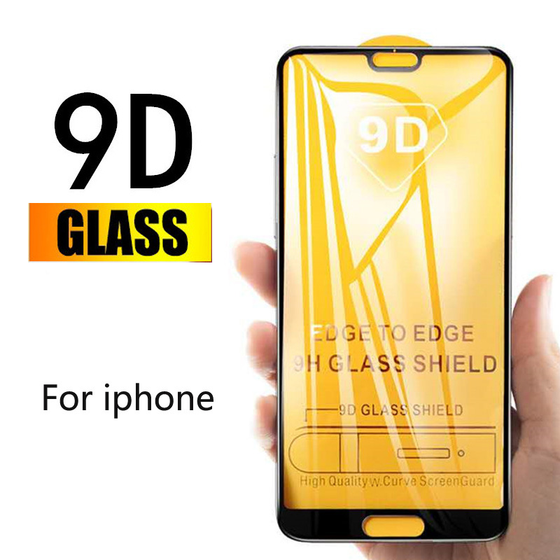 9D Full Cover Tempered Glass For IPhone X XR XS Max Glass For Iphone 8 7 Plus 6 6S Plus Screen Protector Fully Curved Flim