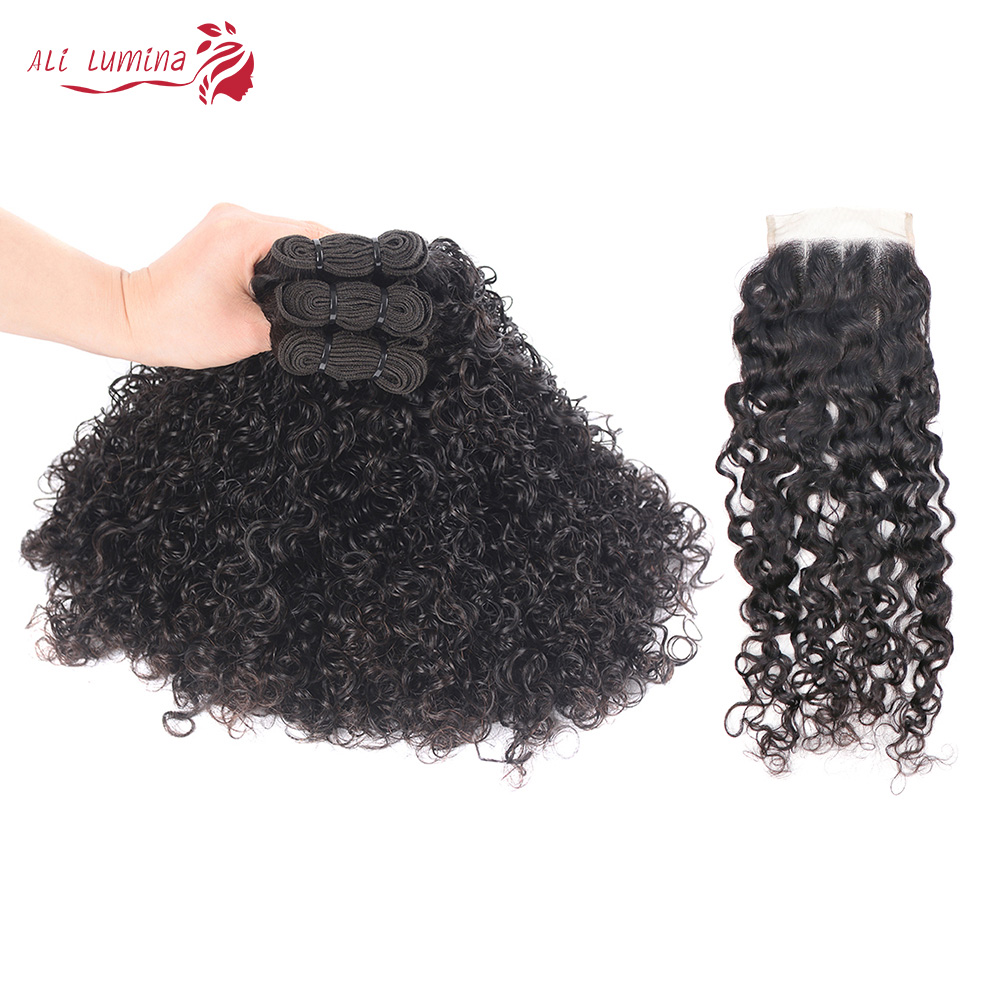 Curly Hair  Bundles 3 Bundles with 4*4 Lace Closure Natural Color  hair 100%  s Double Weft Hair 1