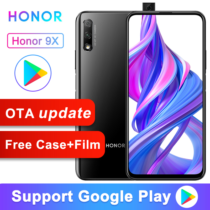 Original Honor 9X téléphone intelligent Kirin 810 Octa Core 6.59 pouces levage plein écran 48MP double caméras 4000mAh GPU Turbo téléphone Mobile