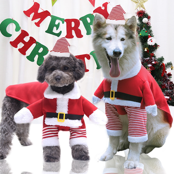 S-XL Christmas Dog Clothes For Small Large Dogs Pet Cat Costume Santa Claus Costume Funny Winter Dog Coat Warm Cat Jacket image