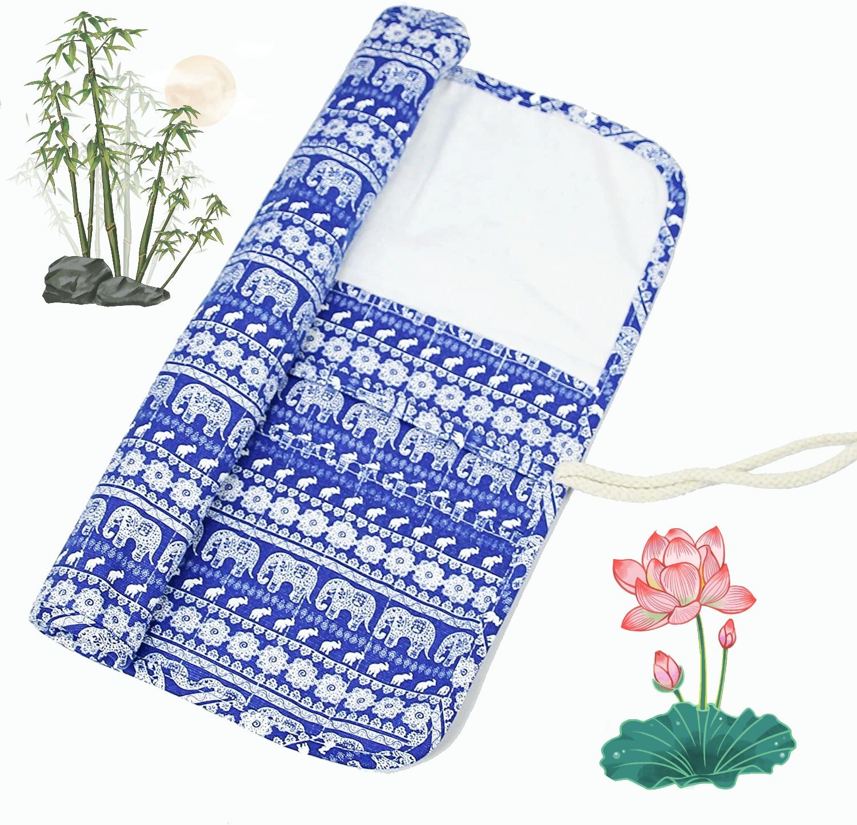 Blue Elephant/Bohemia/Floral 20 Pockets Art Paint Make Up Brushes Case Roll Up Pen Holder Canvas Pouch Bag