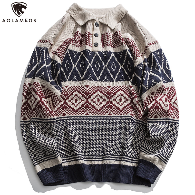 Aolamegs Sweater Men Retro Striped Embroidery Soft Sweater Simple Casual Harajuku Style Cozy Knitted Couple Streetwear Autumn