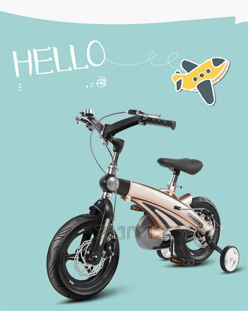 16 Inch Children Bicycle Telescopic Double Disc Brake Kids Bicycle Folding Toys Children Bike Colorful Adult 2-9 Years