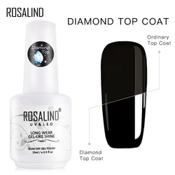 ROSALIND 15ml Top Coat For Nail Gel Polish Diamond Transparent Soak Off UV Primer Gel Lacquer Semi Permanent All For Manicure