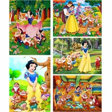 Full Drill 5d Diy Diamond Embroidery Snow White Dwarfs Daimond Painting Scenic Forest Animal Rhinestone Home Decor Art Gift A96