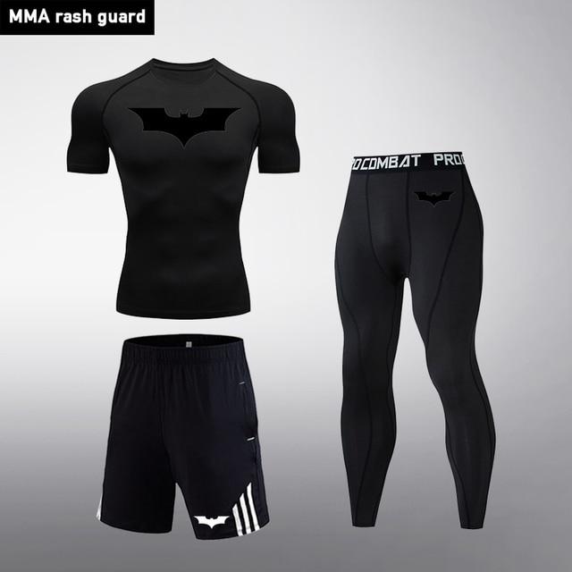 Mma Kompresi Olahraga Pria Berjalan Gym Ketat Kebugaran Legging Pendek Musim Panas Celana Pendek T Shirt Batman 3 Pc Baju Olahraga Pria Menjalankan Set Aliexpress