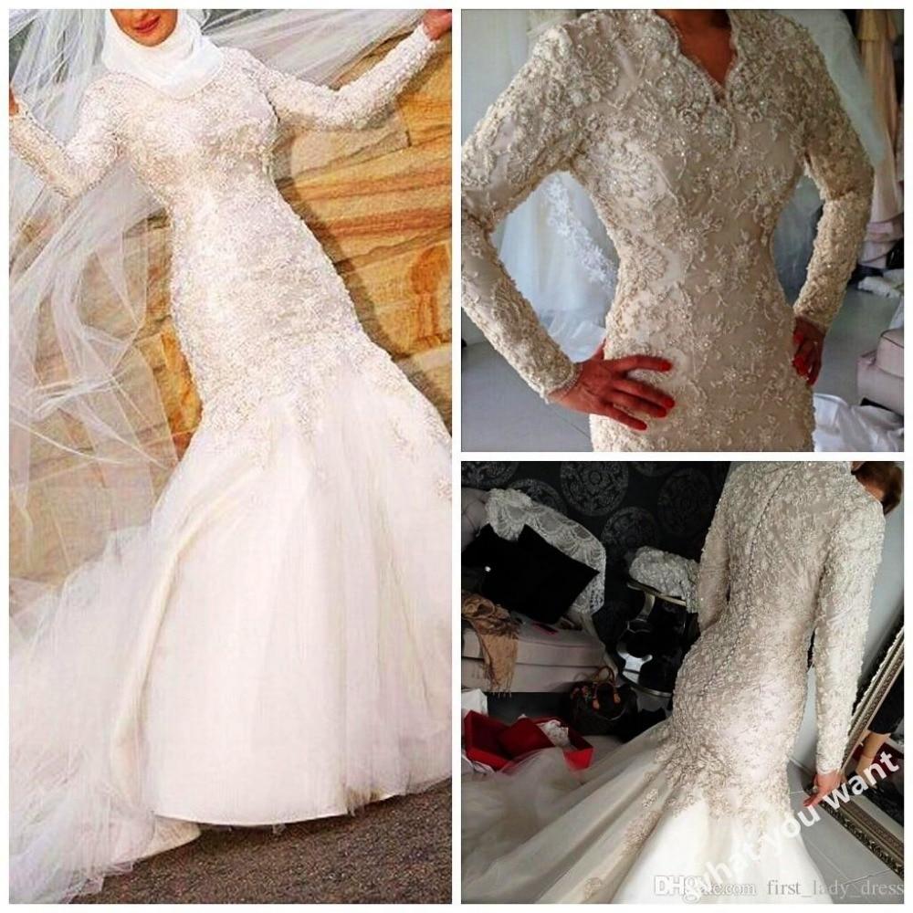 2018 Long Sleeves Lace Vestido De Noiva Sexy Muslim Bridal Gown Appliques Beads Dubai Arab Saudi Mother Of The Bride Dresses