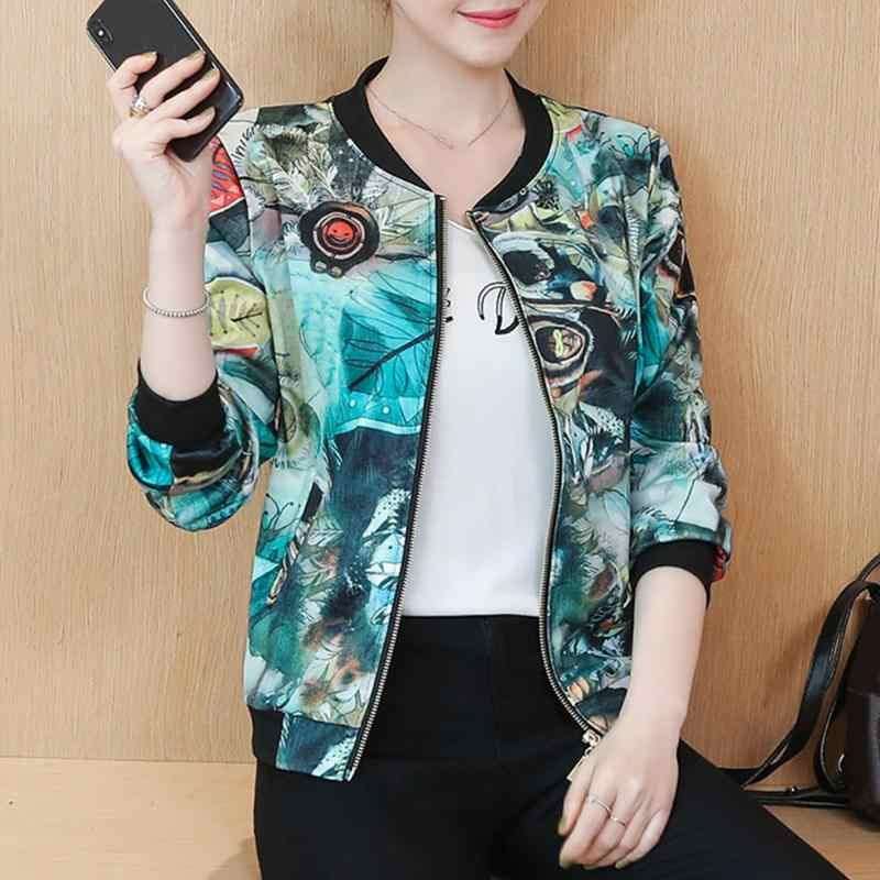 Baru Kedatangan Musim Gugur Splicing Jaket Wanita Kasual Wanita Hangat Jaket Wanita Printing Zipper Kantong Bisbol Cardigan Mantel