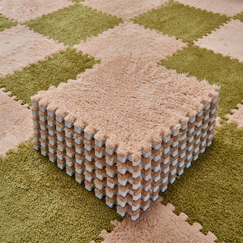 Foldable Carpets for Living Room Plush Soft Climbing Cappet Rug Split Joint Bath Room Anti-skid Rugs Pink Shaggy Area Rug