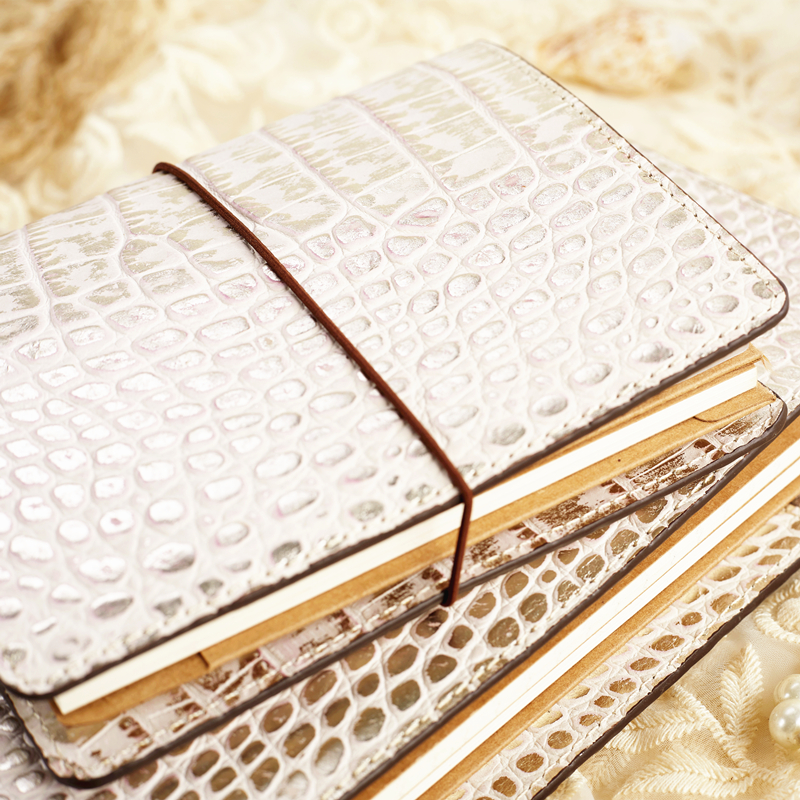 ERAL traveler's notebook crocodile pattern top layer leather. medium size and Small size. Private planner bullet journal sketchb
