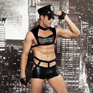 Image 2 - גברים סקסי תלבושות חמה ארוטית סקסי קוספליי תלבושות מפואר שוטרים שמלת גברים ליל כל הקדושים תלבושות משטרת מדים 6603