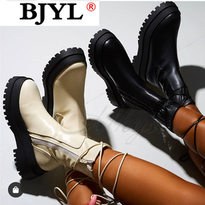 2020 New Boots Women Platform Warm Shoes Winter Fashion Mid-Calf Boots Ankle Boots Zipper Leather Boots Women Botas Mujer
