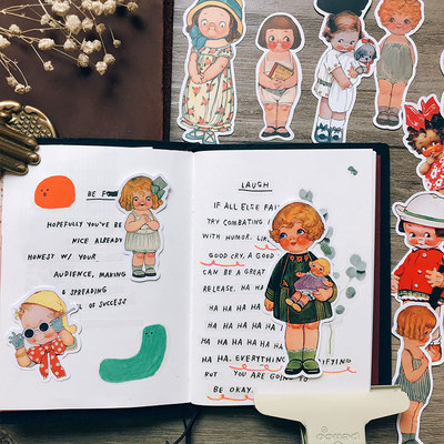 19PCS Doll Retro Diary Stickers Crafts And Scrapbooking Stickers Book Student Label Decorative Sticker DIY Stationery