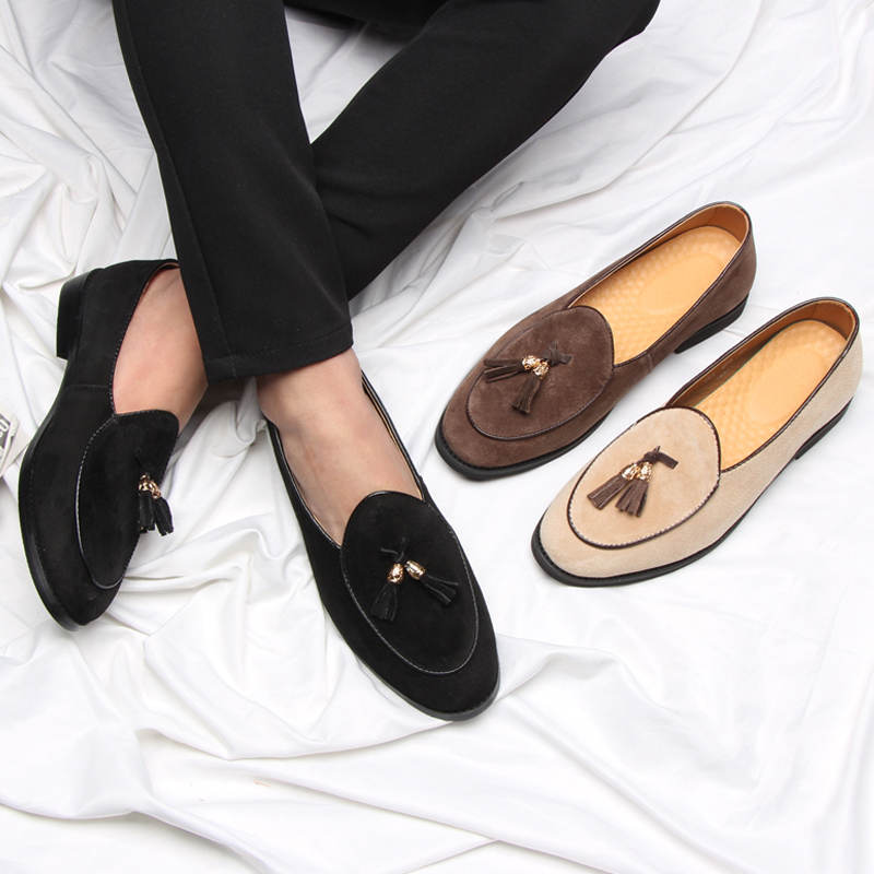 Image 5 - 2019 New Style Italian Luxury Brand Tassel Man Leather Loafer Leather Casual Flats Round Toe Comfortable Office Men Dress Shoes-in Men's Casual Shoes from Shoes