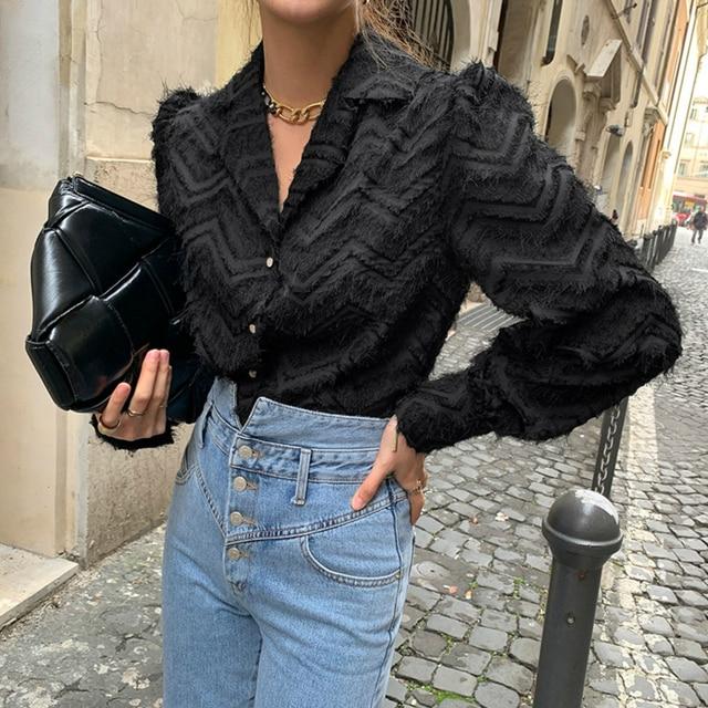 XIBUSANA Elegant Notched Collar Women Tassels Blouses 2021 Spring New Long Sleeve Single-breasted Female Workwear Shirts Tops 4