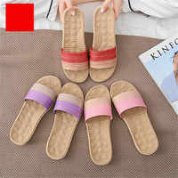 Suihyung Women Flax Slippers Massage Insole Indoor Slippers Home Flip Flops Couple Men Casual Flat Slides Mixed Colors Sandals