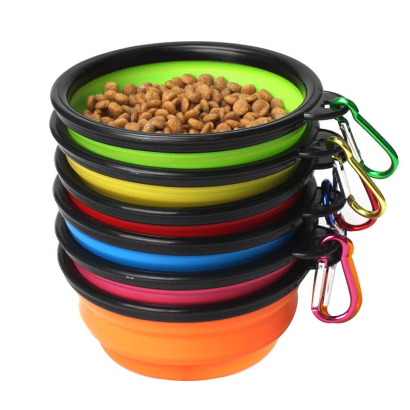 Travel Collapsible Silicone Pets Bowl Pets Dog Bowl Portable Foldable Pet Cat Dog Food Water Feeding Cup Dish Pet Supplies