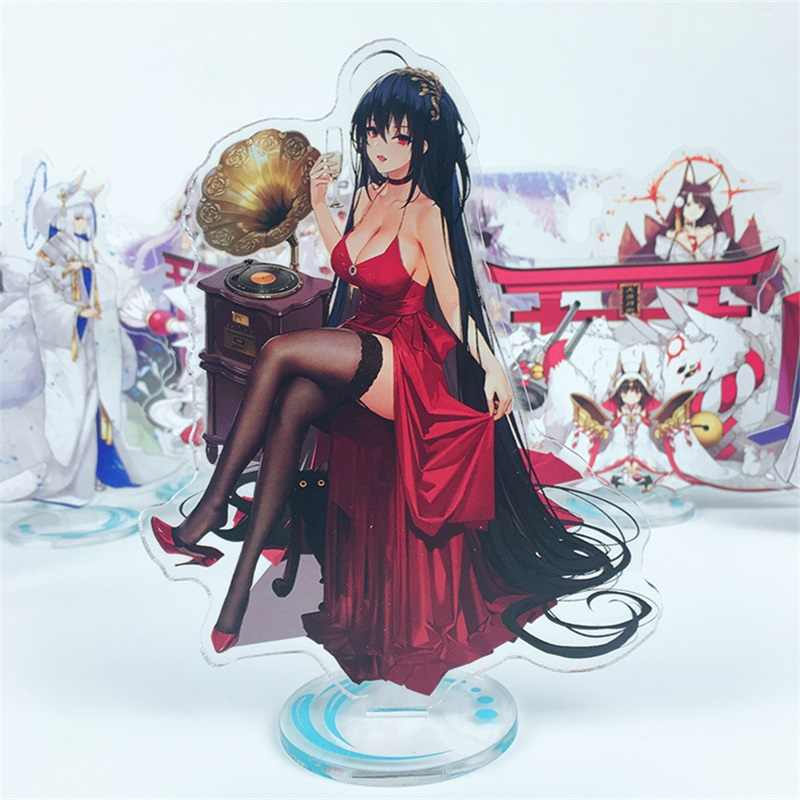 Support Figure Anime jeu Azur Lane Honolulu Atago Takao Vampire Laffey Loli Cosplay Double face acrylique modèle plaque bureau décor