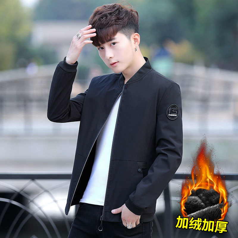 New Products Fashion Baseball Collar Coat Autumn And Winter Plus Velvet Casual Youth Students MEN'S Jacket