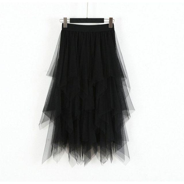 Fashion  2019 Spring Party Skirt Elastic High Waist Long Tulle Skirt Women Irregular Hem Mesh Tutu Skirt Ladies