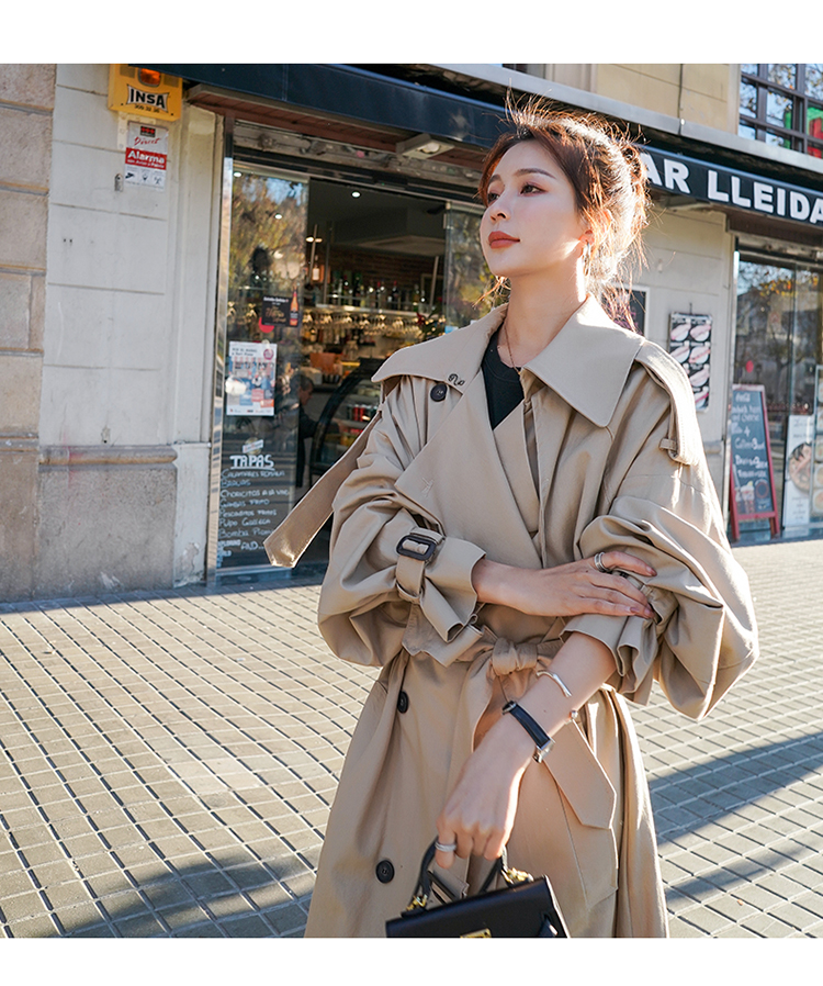 Hc530766fd90d4e9ebbabe83ae20ff87a8 Korean Style Loose Oversized X-Long Women's Trench Coat Double-Breasted Belted Lady Cloak Windbreaker Spring Fall Outerwear Grey