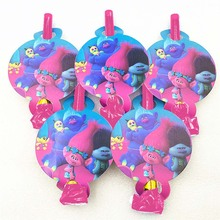 6pcs Cartoon Trolls Party Supplies funny Blowouts Whistle Kids Baby Shower Theme Birthday Favors Decoration Gifts