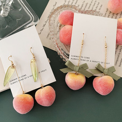 2020 Summer Cute Pink Peach Drop Earrings for Women Girl Sweet Bowknot Big Pendant Dangle Earrings Statement Holiday Jewelry