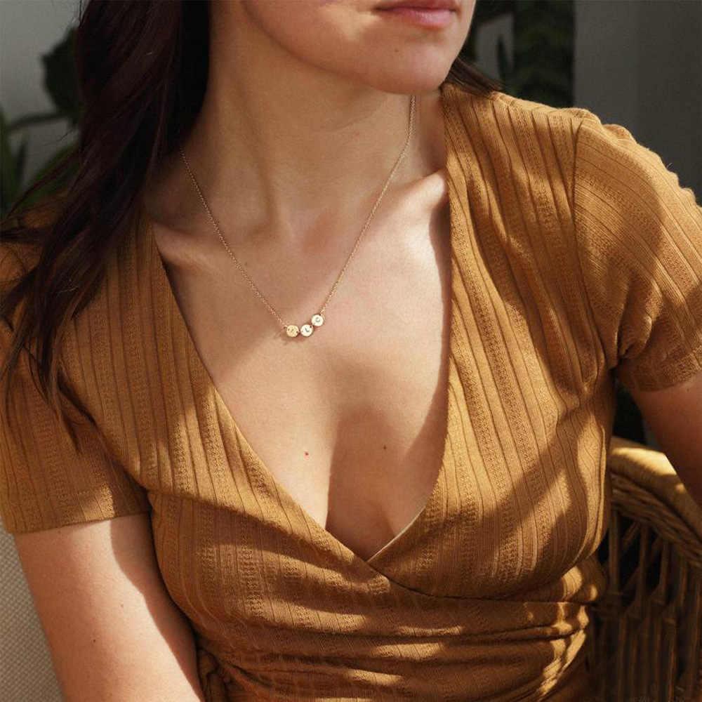 ゴールド小型ディスク初期ネックレス手紙カスタムネームネックレスパーソナライズされた珍味刻まdiseジュエリー女性