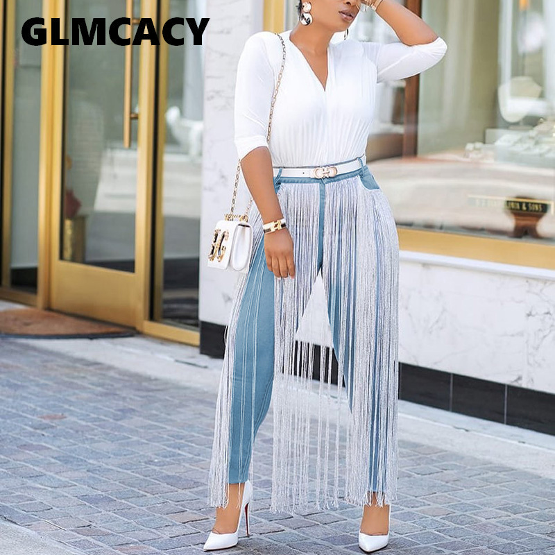 Women Solid Skinny Tassels Jeans Spring Autumn Stretchy Jeans Blue High Waist  Denim Long Pencil Pants Trousers