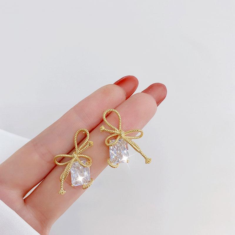 Women Earring Making Charms Bowknot Temperament Square Diamond Zircon Sweet Girl Earrings Daily Female Earrings Fine Jewelry