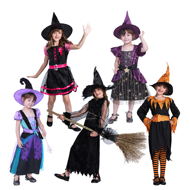 Girls Witch Costume Scary Halloween Childs Witches Fancy Dress Outfit /& Hat