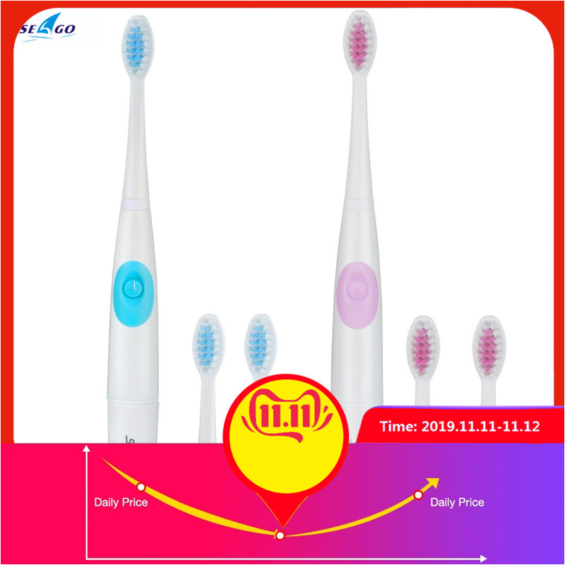 SEAGO SG-915 Sonic Electric Toothbrush Dental Safeguards Oral Health Care Cleaning Tools With 2 Replacement Toothbrush Head