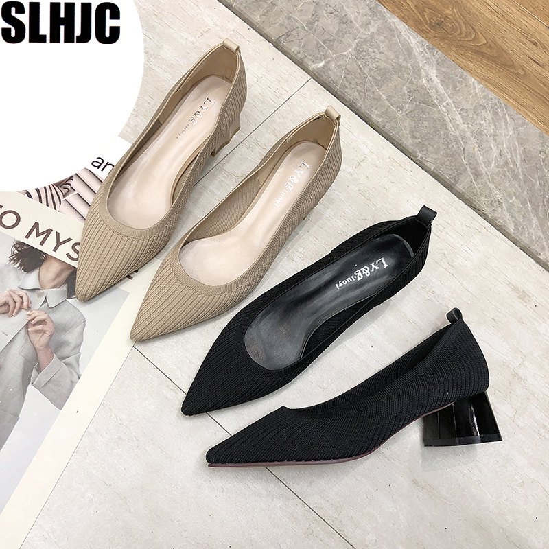 SLHJC 4 CM Heels Shoes Knit Fabric Pointed Toe Slip On Cozy Pumps Women Autumn Slip On Shallow Mouth OL Office Shoes
