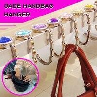 Jade bolso suspensión plegado bolso de gancho titular de mesa colgante de bolso cartera titular de moda de aleación de cristal decoración gancho
