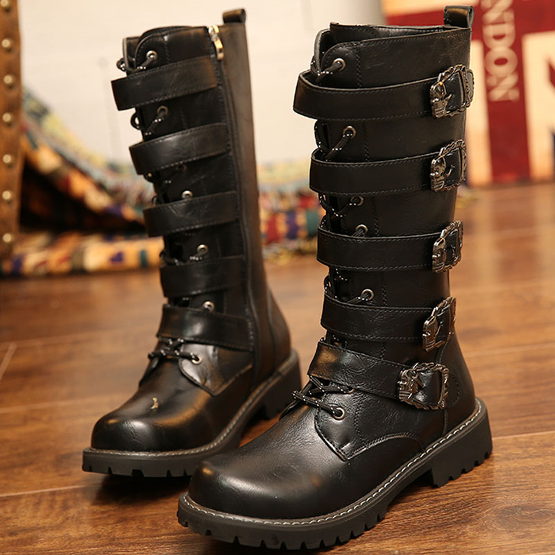 Riding Boots Army Boots Men High Military Combat Boots Metal Buckle Punk Mid Calf Male Motorcycle Boots Lace Up Men's Shoes Rock