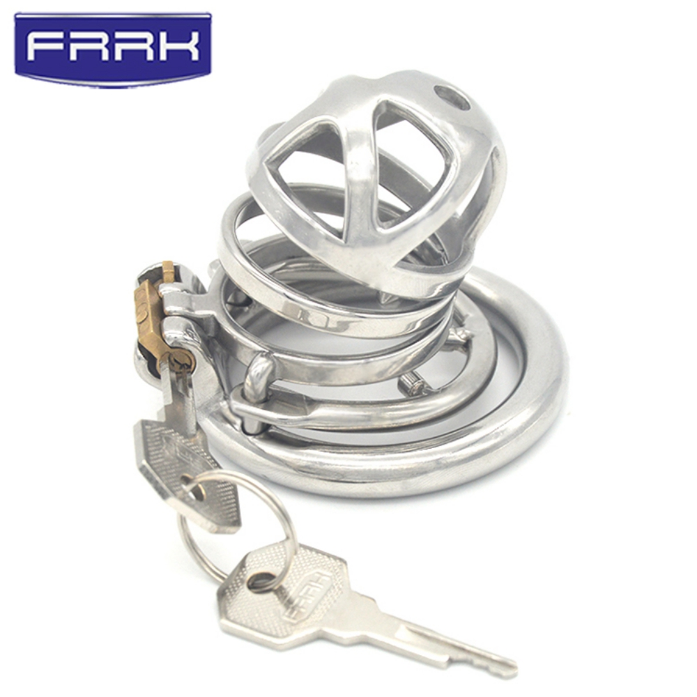 FRRK 05E 304 Stainless Steel 3 Size Bird Cock Cage Lock Adult Game Metal Male Chastity Belt Device Penis Ring Sex Toys For Men