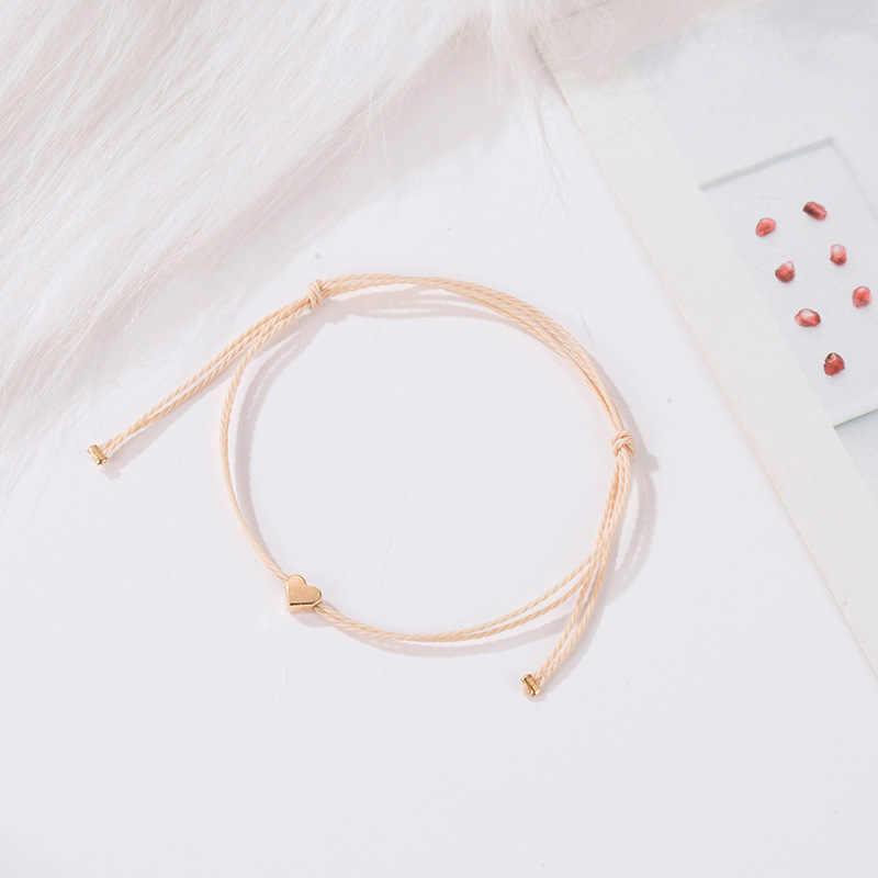 Handmade koreański beżowy liny bransoletka mężczyzn regulowany minimalistyczny String bransoletka z serduszkiem kobiety biżuteria