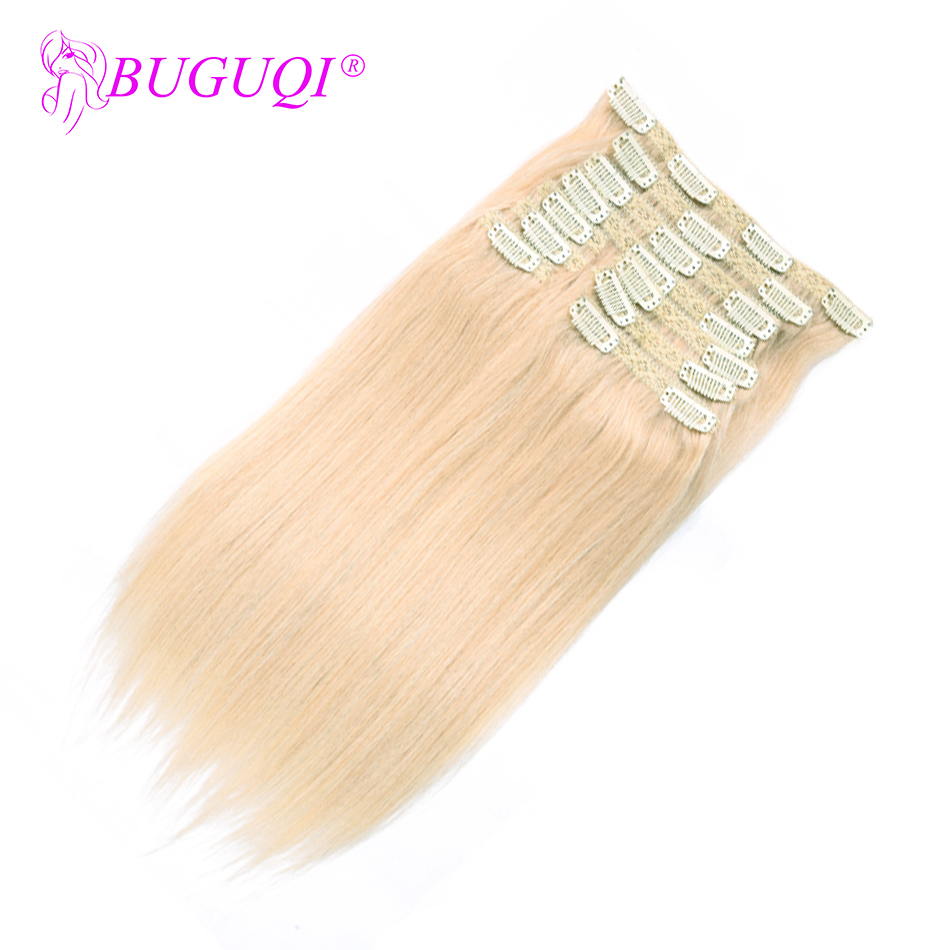 BUGUQI Hair Clip In Human Hair Extensions Malaysian #60 Remy 16- 26 Inch 100g Machine Made Clip Human Hair Extensions