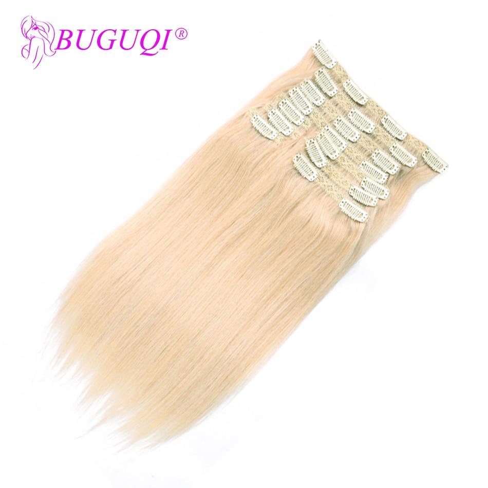 BUGUQI Hair Clip In Human Hair Extensions Malaysian #60 Remy 16- 26 Inch 100g Machine Made Clip Human Hair Extensions