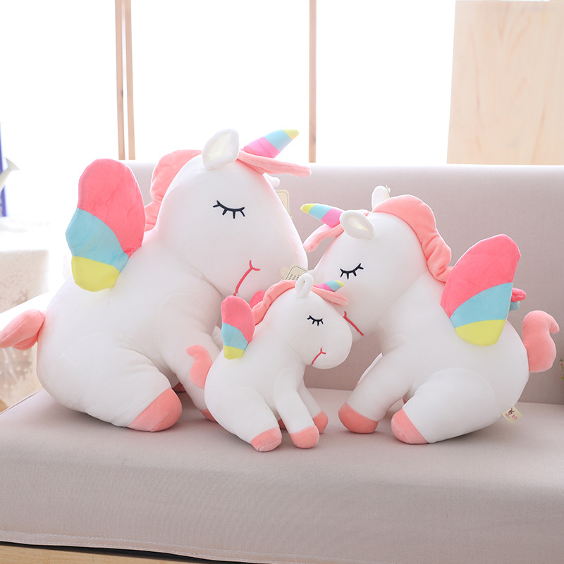 25cm-75cm lovely <font><b>unicorn</b></font> plush <font><b>toy</b></font> pink fly horse with rainbow wings baby kids appease doll birthday gift <font><b>for</b></font> little <font><b>girl</b></font> image