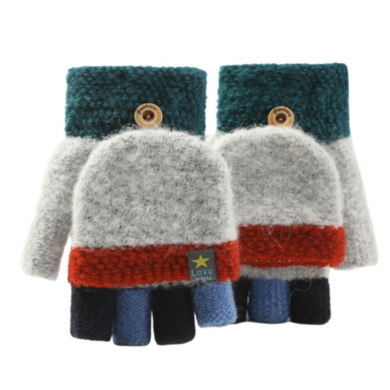 Toddler Kids Winter Knitted Fingerless Contrast Color Gloves Thick Warm Outdoor Writing Convertible Flip Top Half Finger Mittens