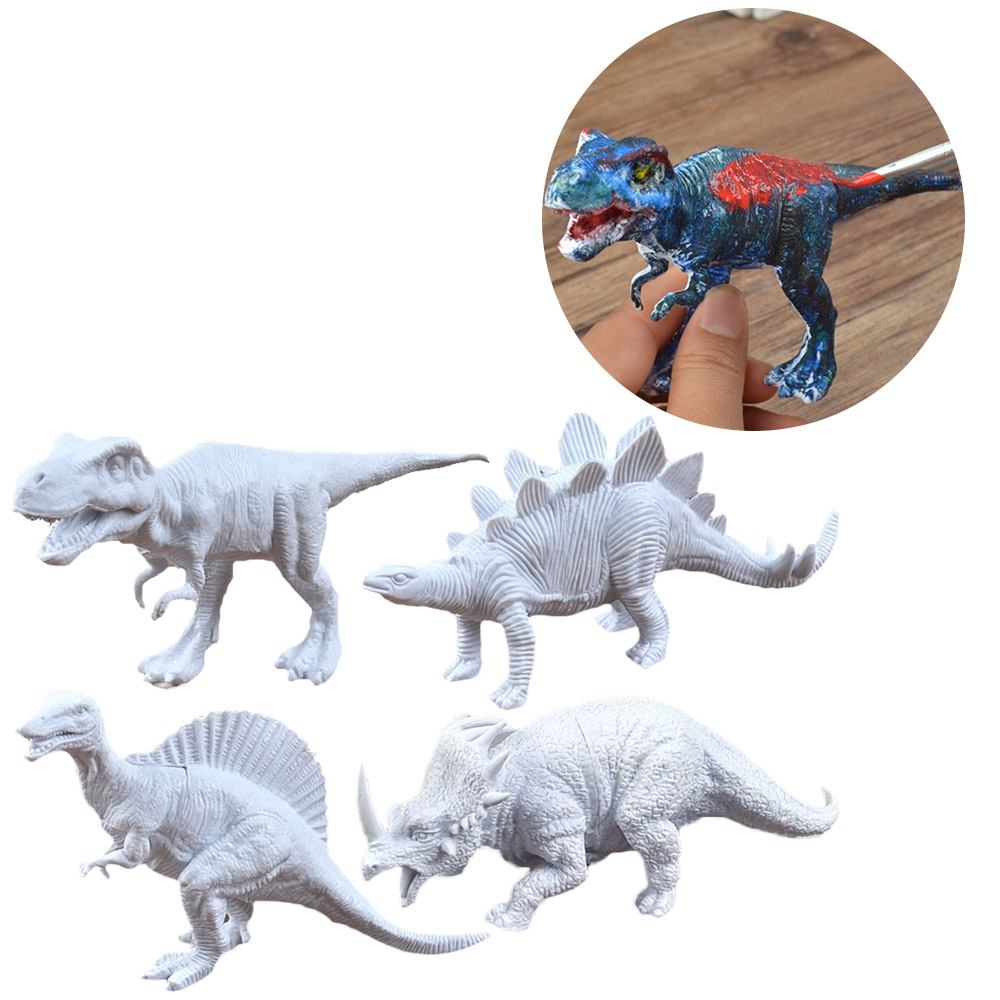 Kids 4pcs DIY Dinosaurs Painting 3D Dinosaurs Figurines Drawing Model With 6 Colors Paint And 1pcs Brush Graffiti Coloring Toys