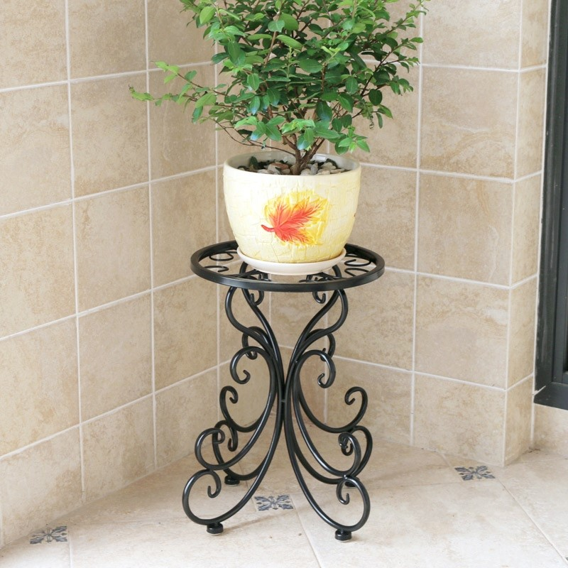 Living Room Wrought Iron Flower Stand Room Built-in Rack Wrought Iron Floor-standing Balcony Hanging Orchid Flower Pot Flower