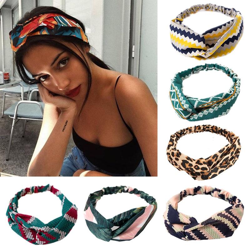 Vintage Bohemian Hairbands Print Headbands For Women Cross Knot Turban Bandage Bandanas Elastic Hair Rope Hair Accessories