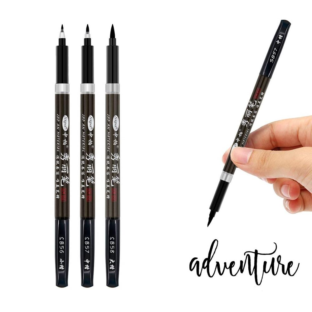 3pcs Calligraphy Pen Set Fine Liner Tip Medium Brush Pens For Signature Drawing Hand Lettering School Album Art Supplies A6867