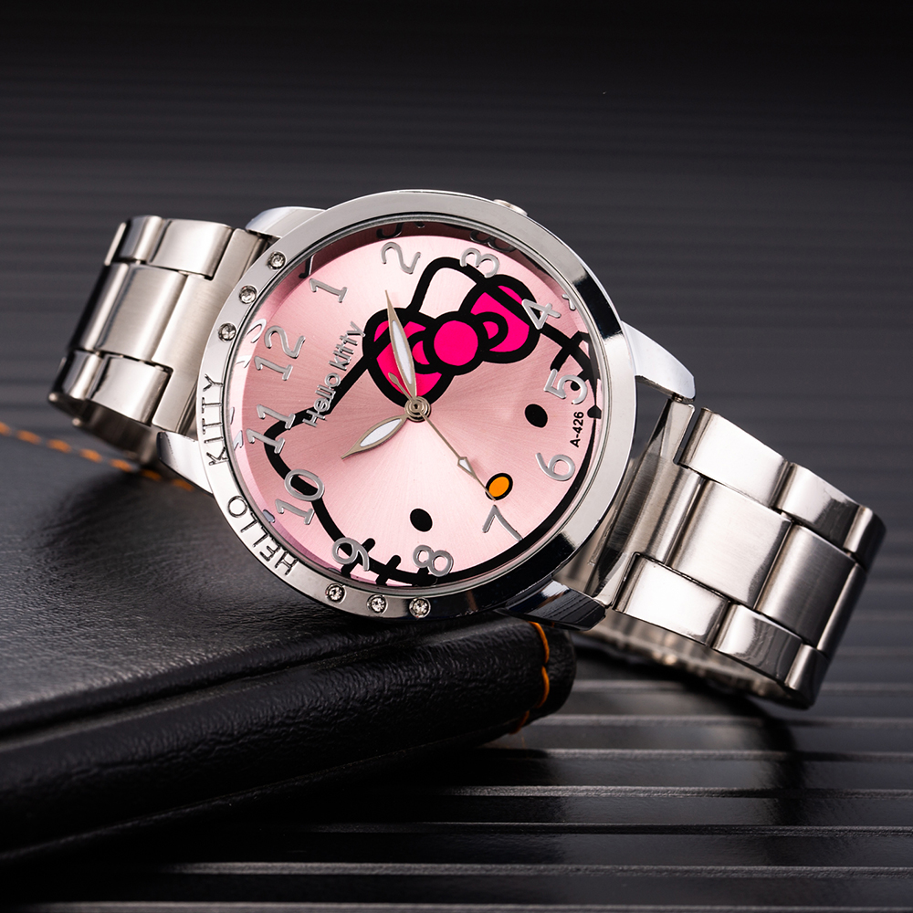 Hello Kitty Watch Ladies Kitty Bangle Watch Hodinky Stainless Steel Buckle Elegant Simple  Clock Kid Gift Ceasuri Reloj Mujer